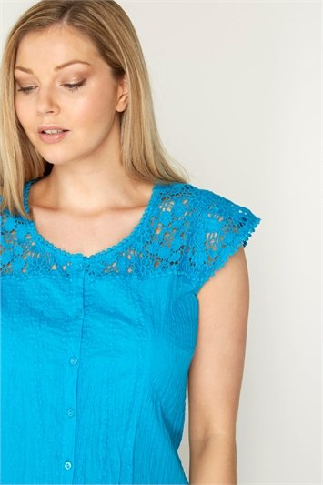 Lace Yoke and Sleeve Crinkle Blouse