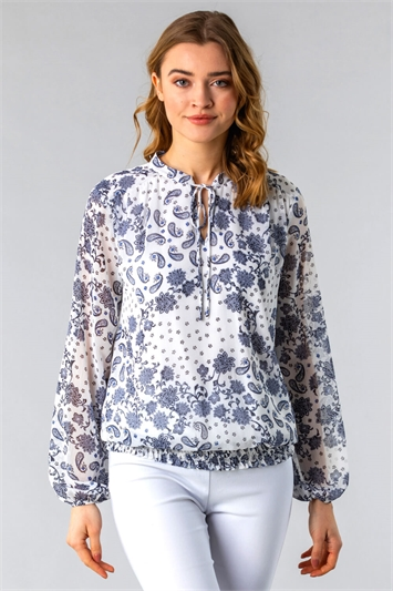 Paisley Floral Tie Front Top