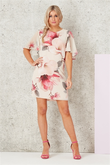 All Over Floral Print Chiffon Dress