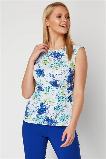 Floral Side Pleat Top