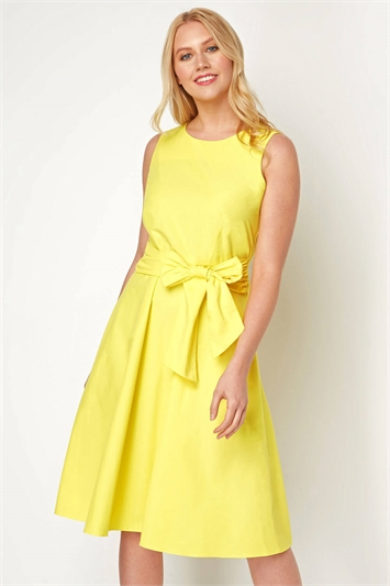 Cotton Tie Waist Midi Dress