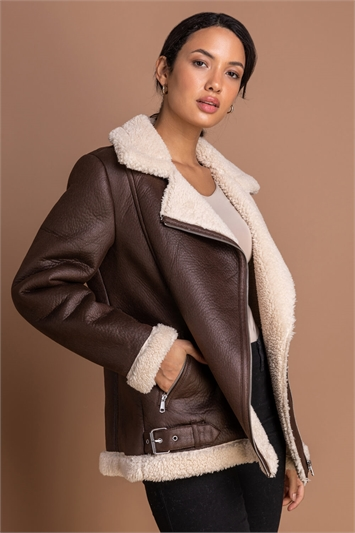 Brown Faux Fur Lined Zip Detail Aviator Jacket