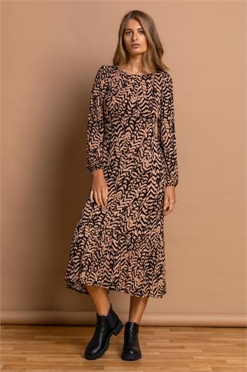 Camel Animal Print Tiered Midi Dress, Image 1 of 4