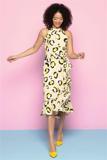 Animal Print Tie Waist Midi Dress