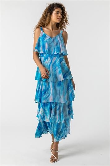 Aqua Abstract Print Tiered Maxi Dress