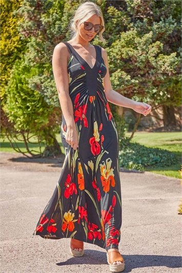 Floral Contrast Band Maxi Dress