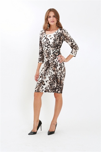 Julianna Cheetah Print Side Buckle Dress
