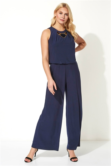 Necklace Trim Jumpsuit