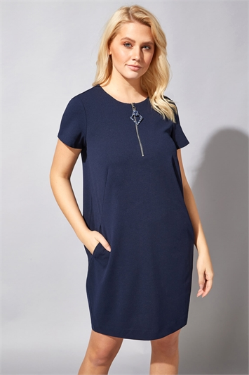 Zip Detail Tunic Pocket Dress
