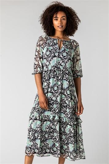Mint Tie Neck Floral Midi Dress