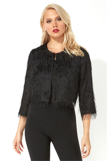Cropped Fringe Detail Jacket