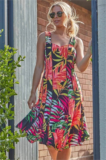 Tropical Print Panel Dress