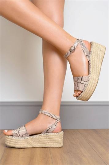 Natural Snake Print Flatform Sandals