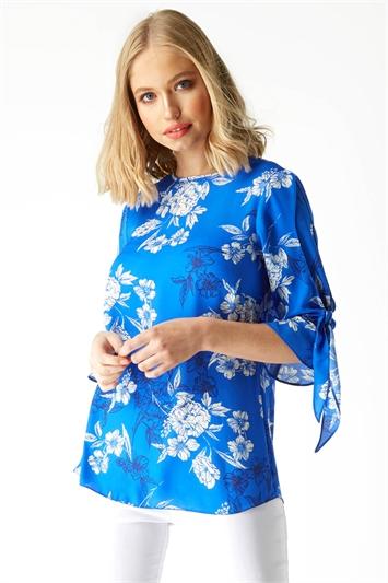 Floral Print Chiffon Tie Detail Top