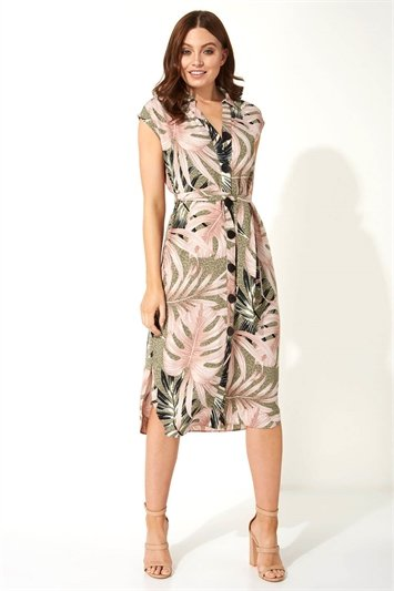 Palm Leaf Animal Print Shirt Dress