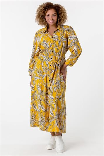 Yellow Curve Tropical Print Shirt Dress