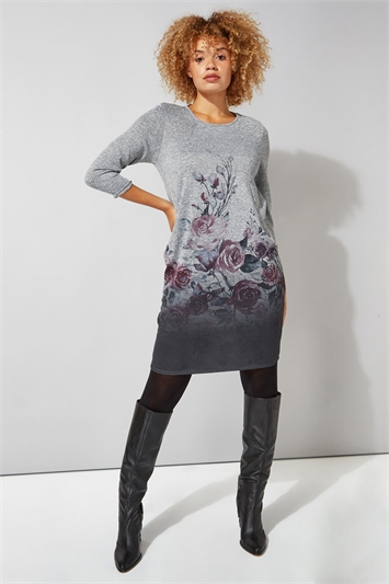 Floral Border Print Slouch Dress