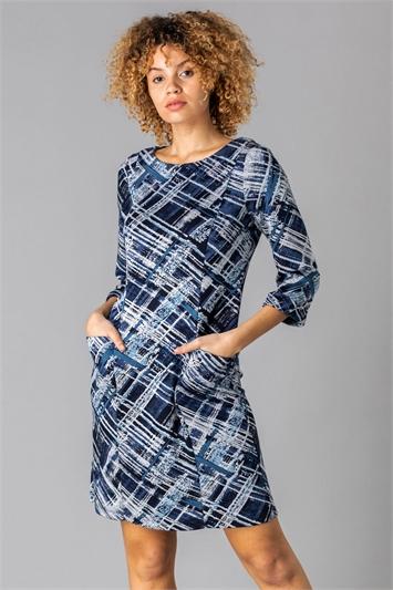 Abstract Check Pocket Dress