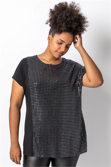 Silver Curve Sequin Embellished T-Shirt