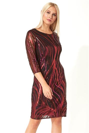 Sequin 3/4 Sleeve Mesh Dress
