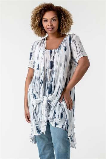 Navy Curve Abstract Print Crinkle Tunic Top, Image 1 of 4