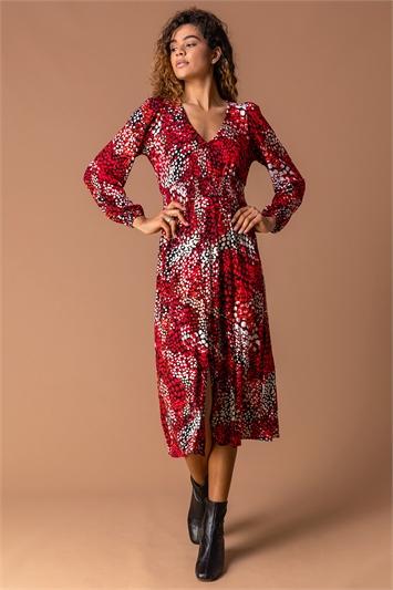 Red Abstract Animal Print Midi Dress