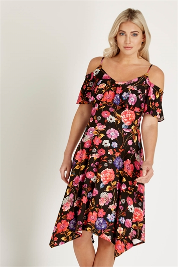 Hanky Hem Cold Shoulder Dress