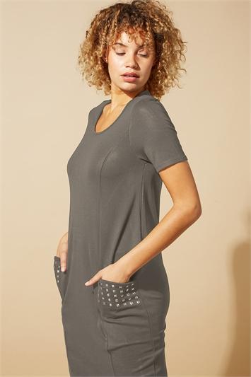 Khaki Pocket Stud Detail Slouch Dress, Image 1 of 4