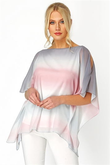 Ombre Split Sleeve Overlay Top