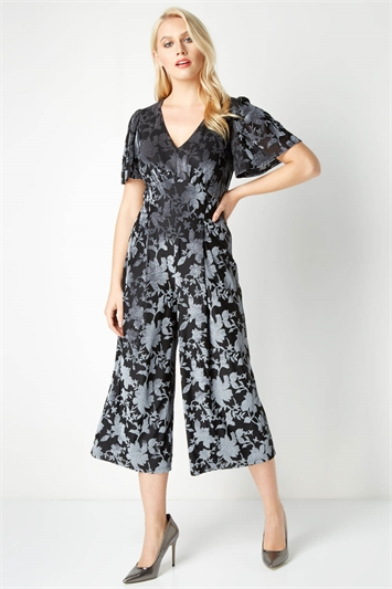 Velvet Floral Burnout Jumpsuit