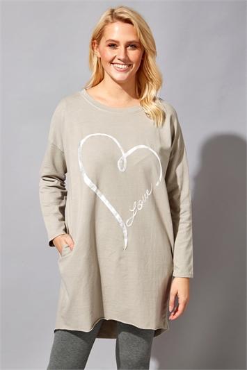 Foil Heart Pocket Sweater Top