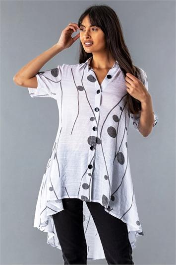 Spot Print Button Through Shirt