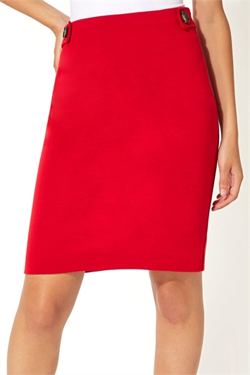 Button Detail Ponte Skirt