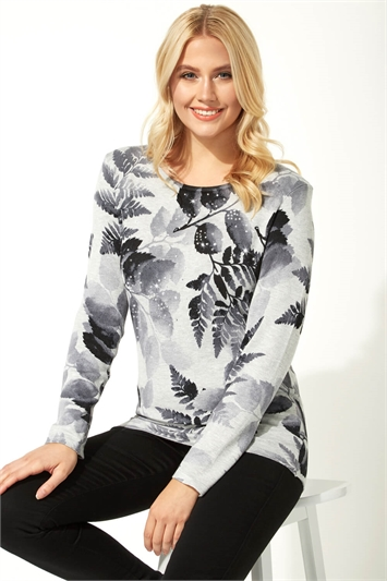 Floral Print Diamante Jumper
