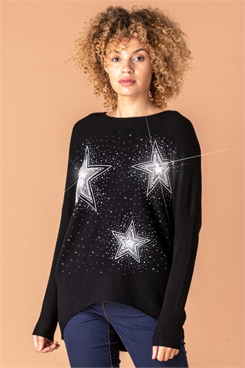 Diamante Embellished Star Jumper