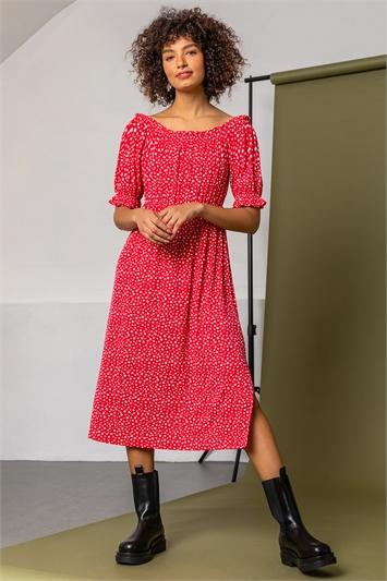 Red Ditsy Floral Bardot Midi Dress, Image 1 of 5