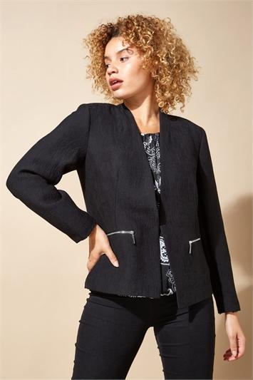 Black Zip Detail Tailored Jacket, Image 1 of 4