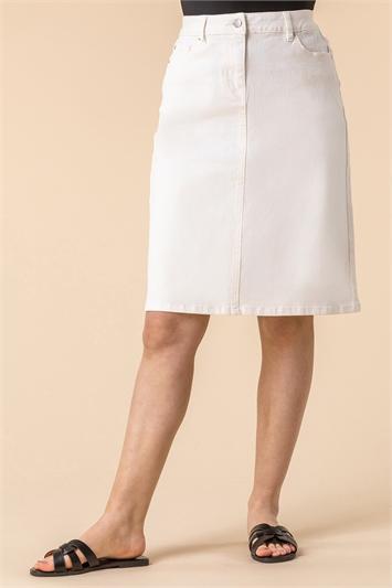 A Line Knee Length Denim Skirt
