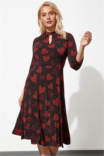 Heart Print Keyhole Neck Midi Dress