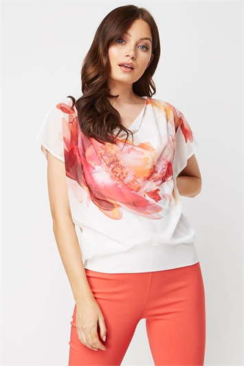 Floral Print Overlay Blouson Top