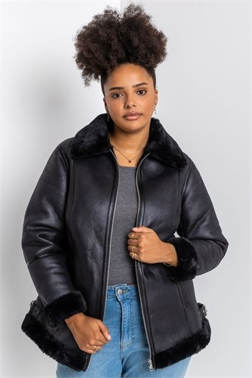 Black Curve Faux Fur Lined Aviator Jacket