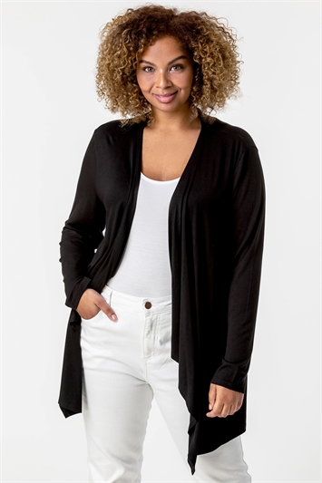 Black Curve Waterfall Front Jersey Cardigan