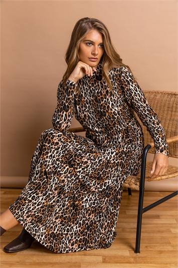 Camel Animal High Neck Midi Dress