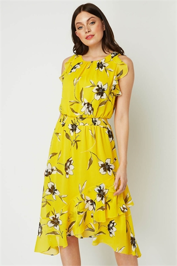 Floral Ruffle Midi Dress