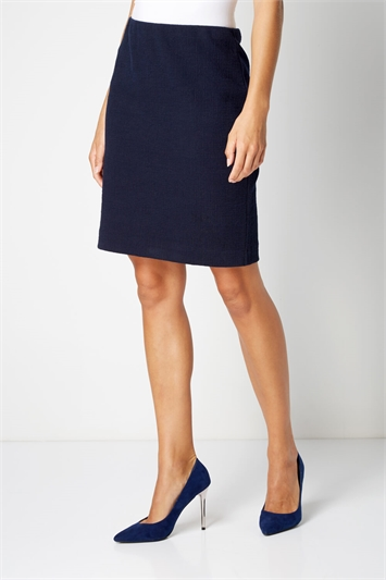 Short Textured Jersey Skirt