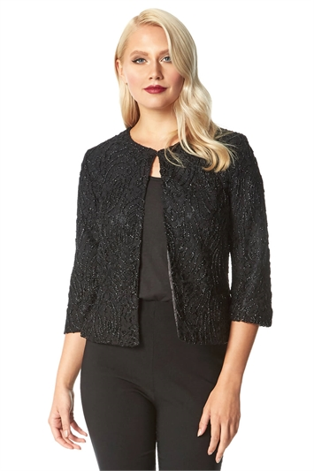 Metallic Lace Cropped Jacket