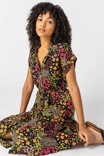 Multi Contrast Floral Print Shirt Dress