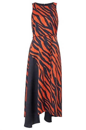 Animal Contrast Satin Midi Dress