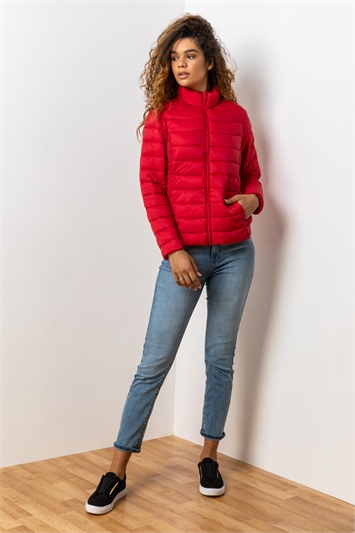 Red Lightweight Padded Coat, Image 1 of 5