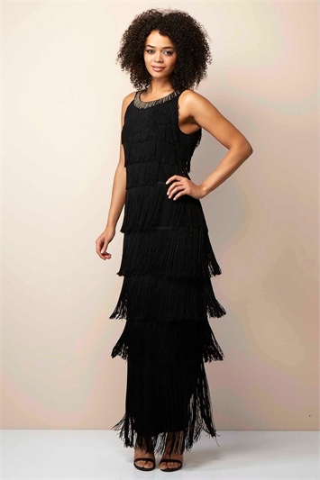Sequin Neckband Fringe Maxi Dress